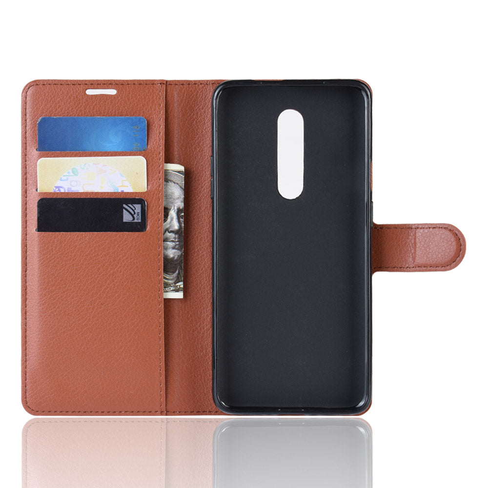 Oneplus 7 Pro Leather Case Shock Resistant Wallet with Card Holder & Kickstand Brown