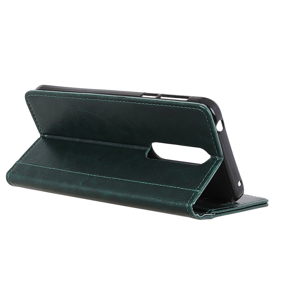 Oneplus 7 Pro Leather Case Vintage Wallet with Viewing Stand Card Slots Green