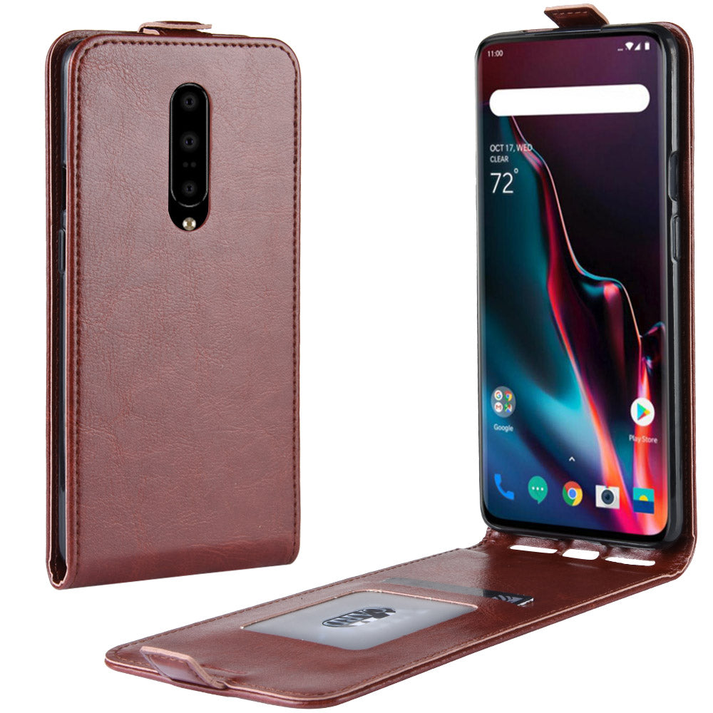 Oneplus 7 Pro Wallet Case PU Leather Flip Down Card Slot Cover Brown