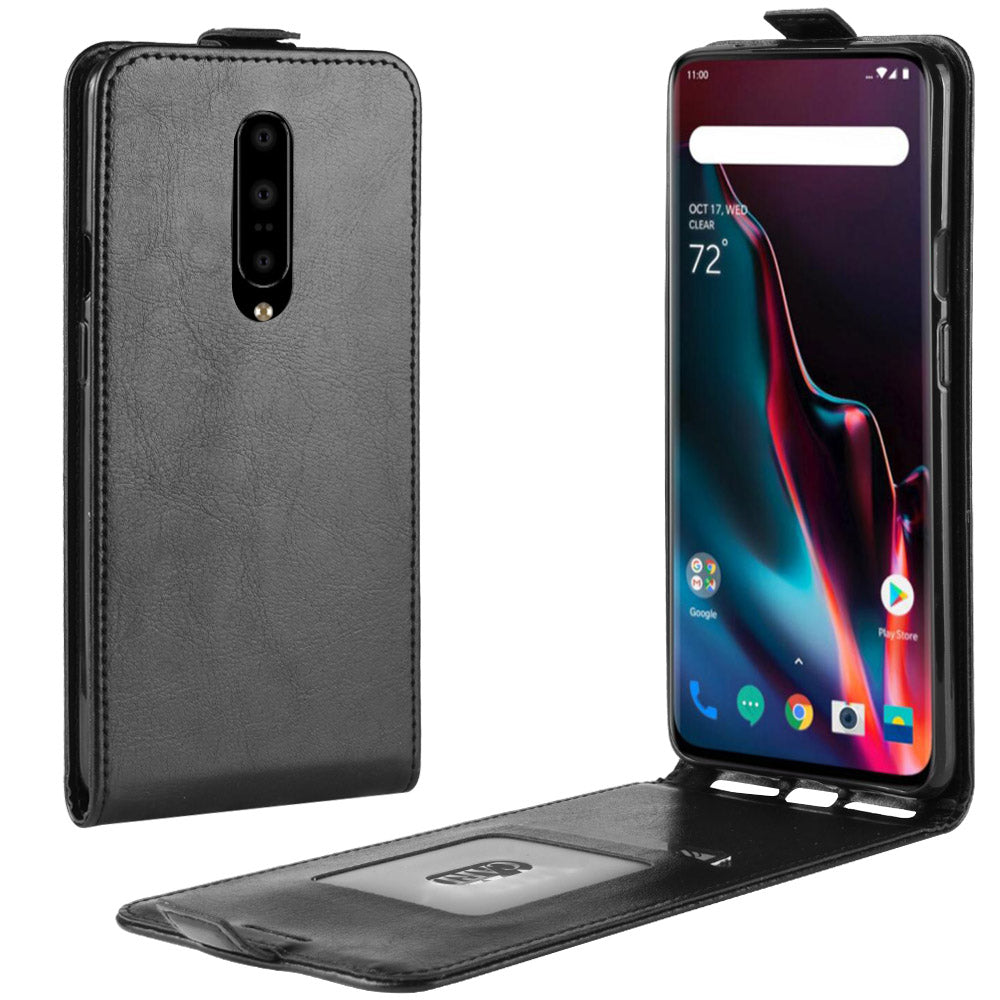 Oneplus 7 Pro Leather Case with Credit Card Holder Flip Wallet Cover Black