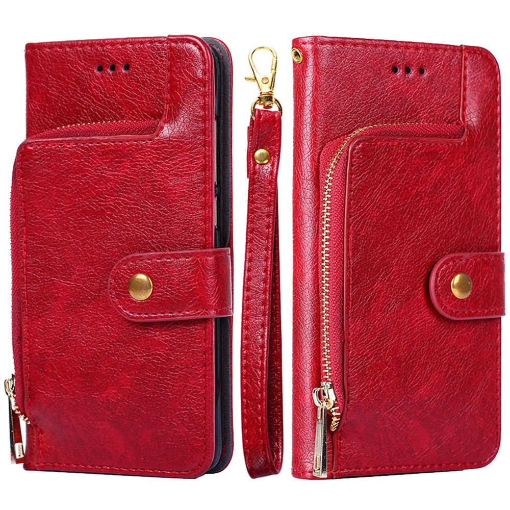Oneplus 7 Pro Wallet Case Wrist Strap Zipper Leather Case Red