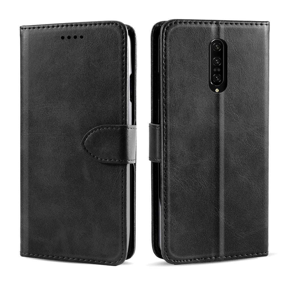 Oneplus 7 Pro Wallet Case with Card Slot Magnetic Closure Flip Cover Black