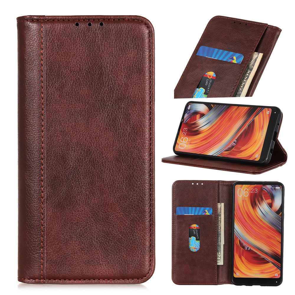 Oneplus 7 Pro Wallet Case Credit Card Slot Magnetic Cloure PU Leather Case Brown