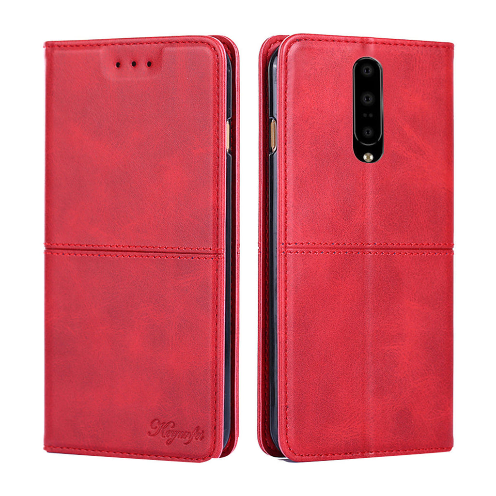 Oneplus 7 Wallet Case PU Leather Shockproof Cover Flip Case with Kickstand Red