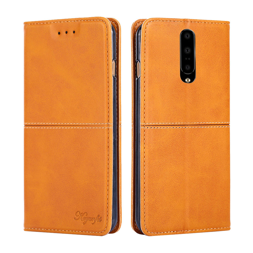 Oneplus 7 Wallet Case Protective Flip Stand Cover with Card Slot Magnetic Closure Brown