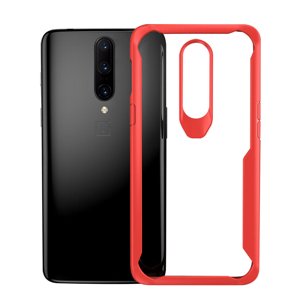 Oneplus 7 pro Case Crystal Clear Back Phone Cover TPU Bumper Red