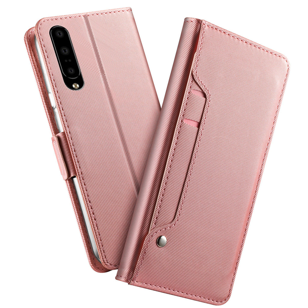 Oneplus 7 wallet phone case with card slots & mirror PU leather cover rose red