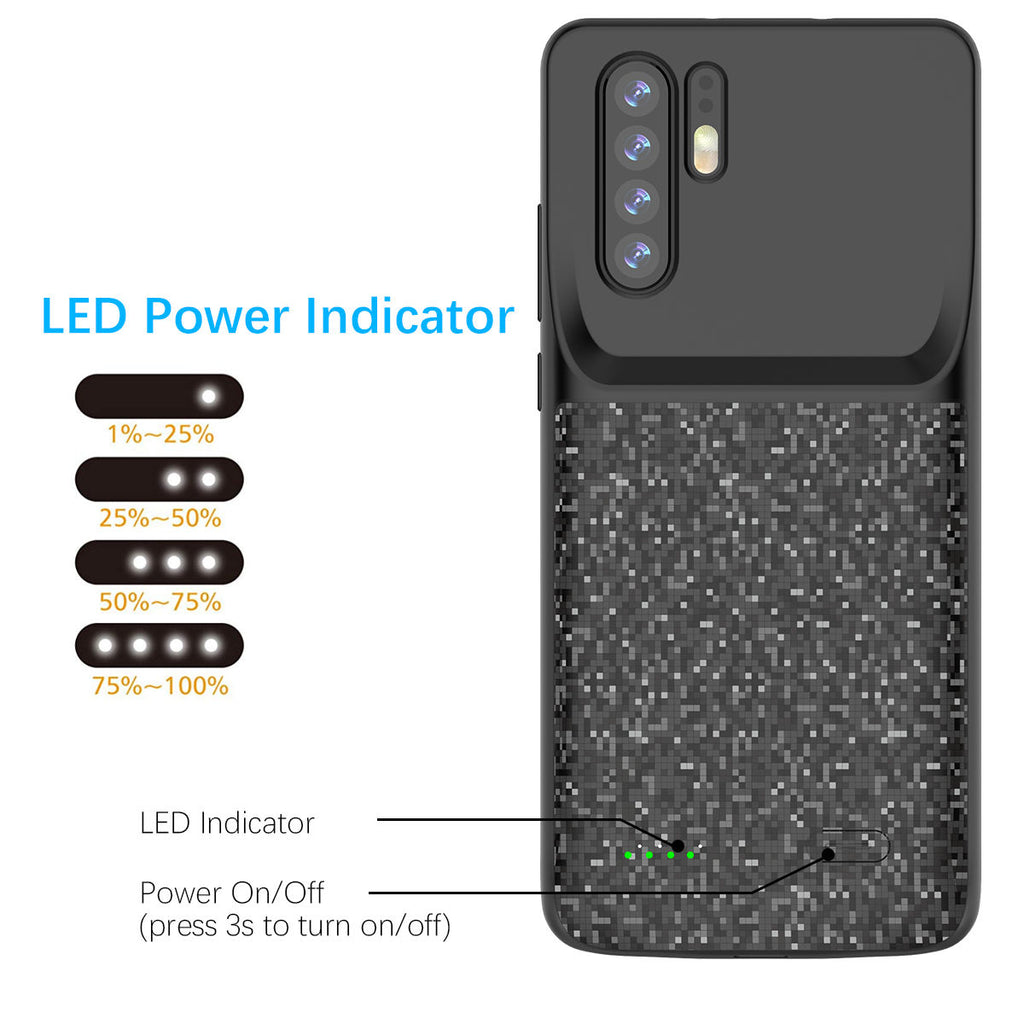 Huawei P30 Pro Battery Case 4700mAh Extended Pack Anti-Scratch Charger Black