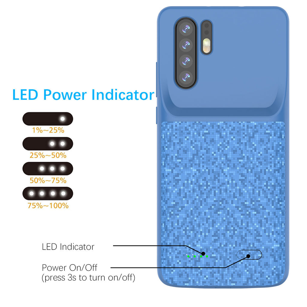 Huawei P30 Pro 4700mAh Battery Case Slim Rechargeable Extended Pack Blue