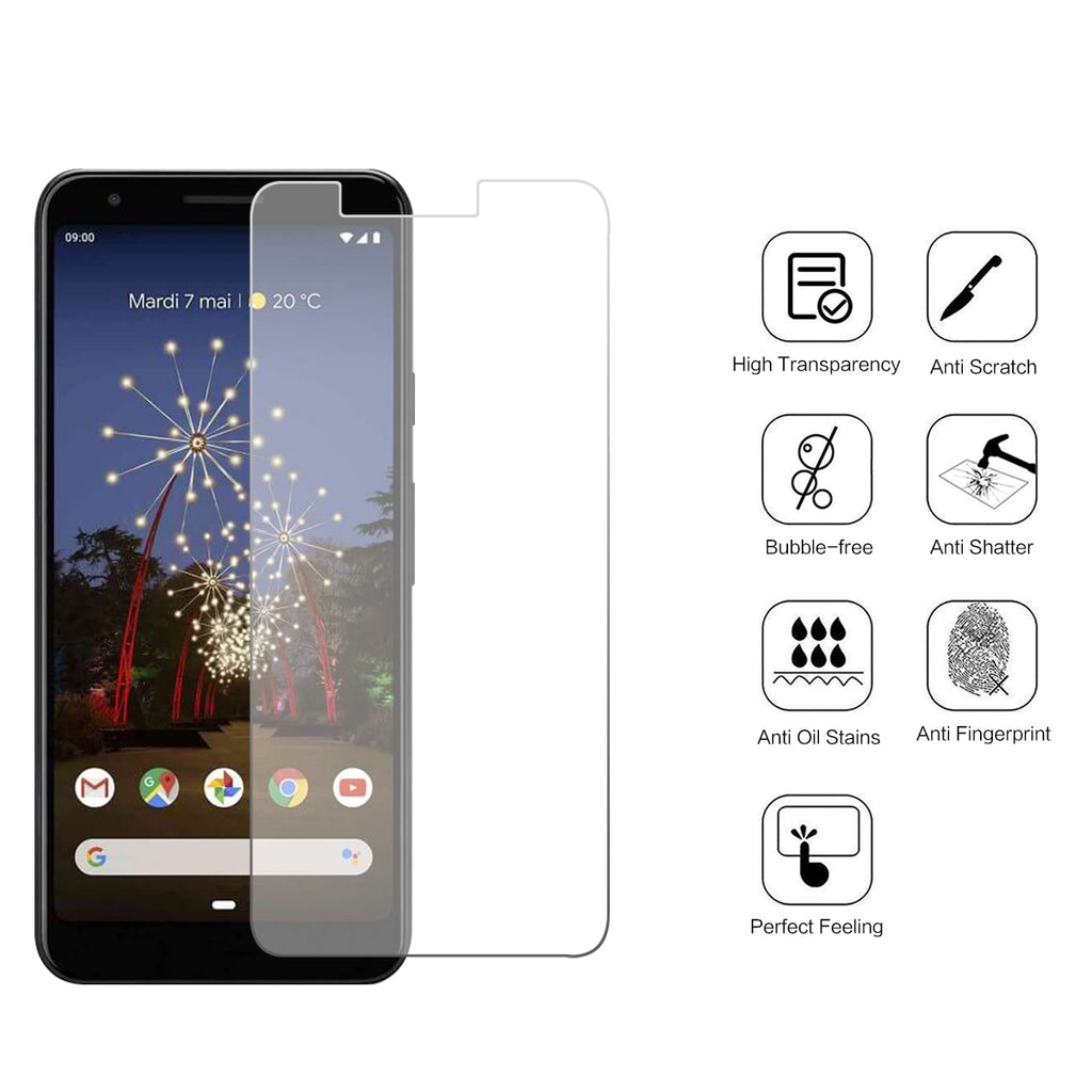Pixel 3a Screen Protector Anti-Fingerprint Tempered Glass Case Friendly Film