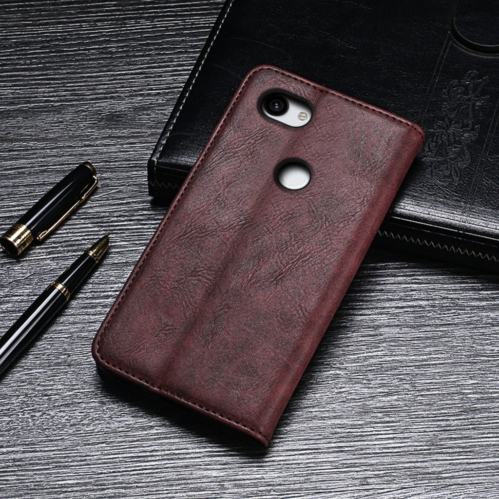 Pixel 3a Wallet Phone Case with Card Holder Custom Leather Cover Red