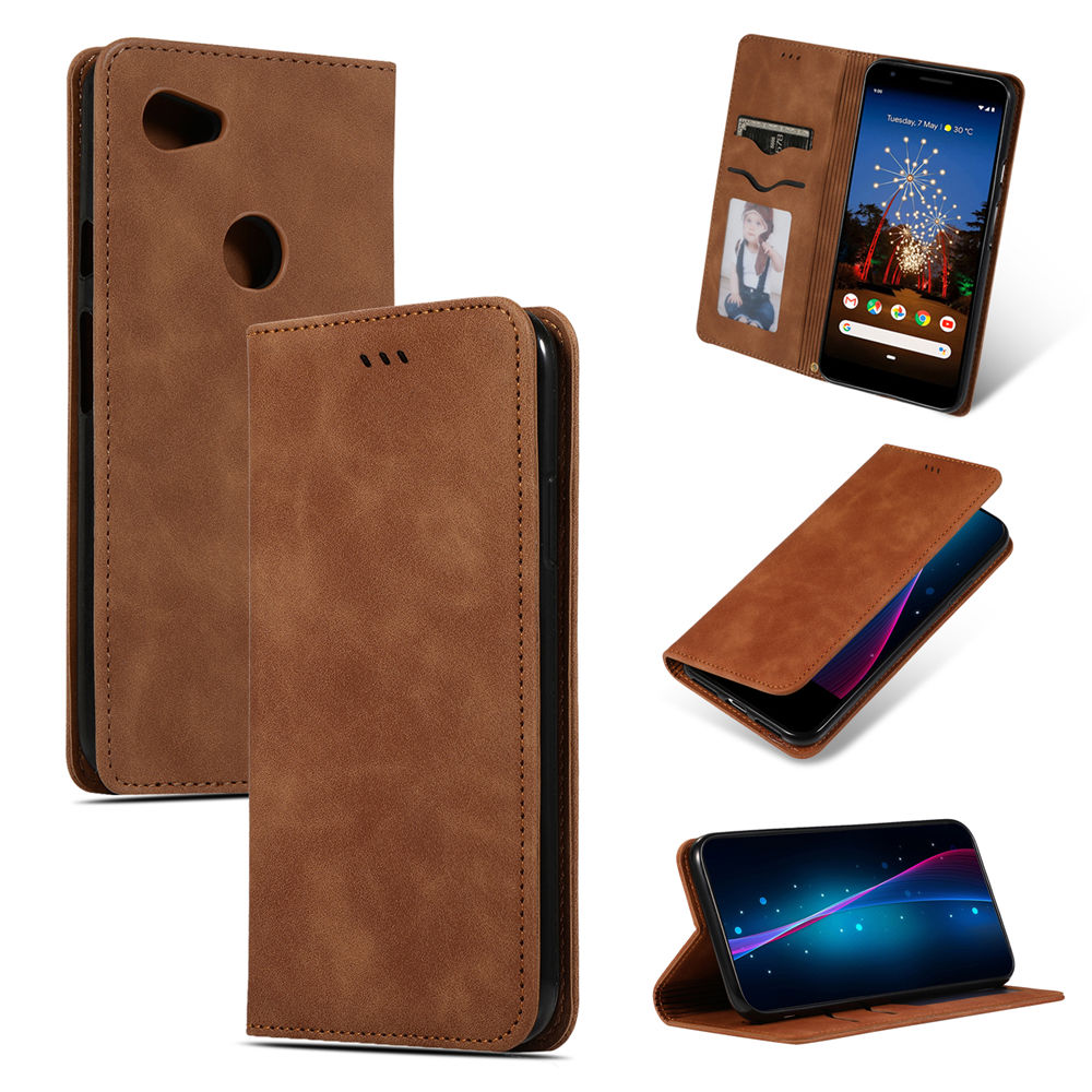 Pixel 3a XL Case Card Slots Wallet Business Leather Case with Kickstand Brown
