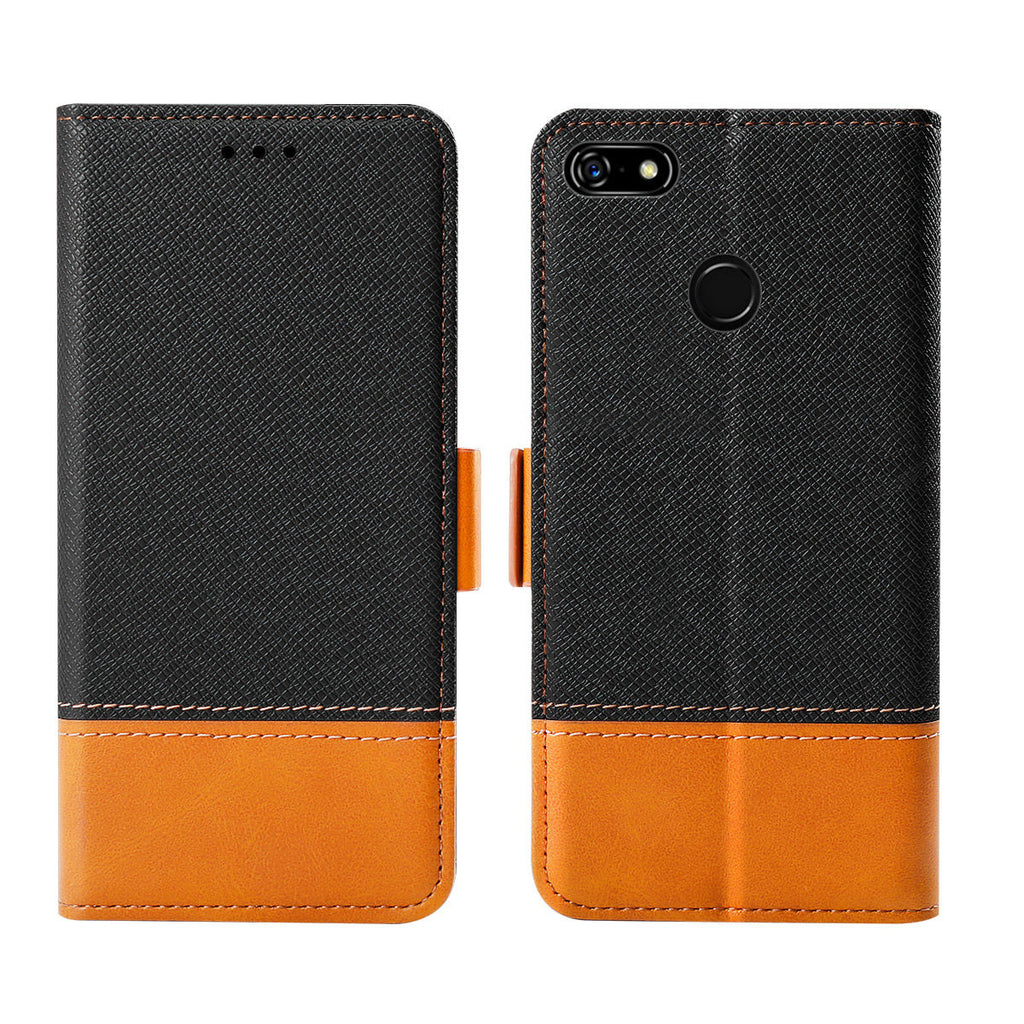 Pixel 3a XL Wallet Case with Card Slots Contrast Color Leather Case Black