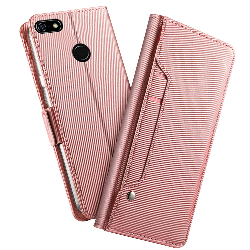 Pixel 3a wallet leather case anti fall silky PU cover built-in mirror rose