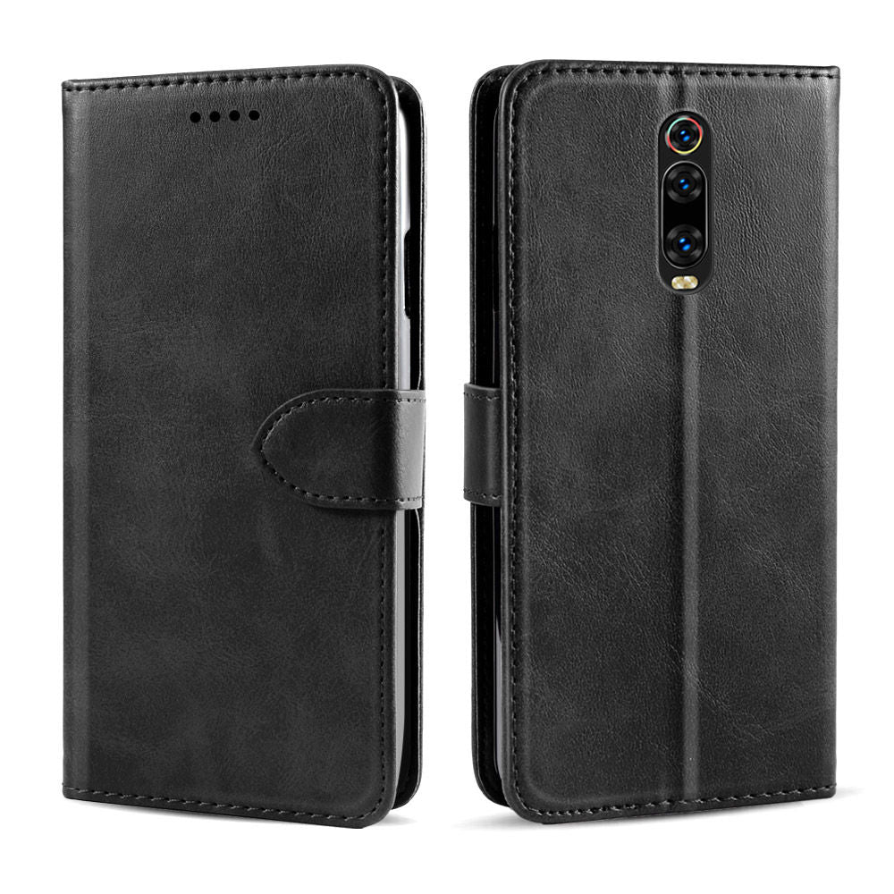 Leather Wallet Cases for Redmi K20 Pro with Card Slots Magnetic Closure Black
