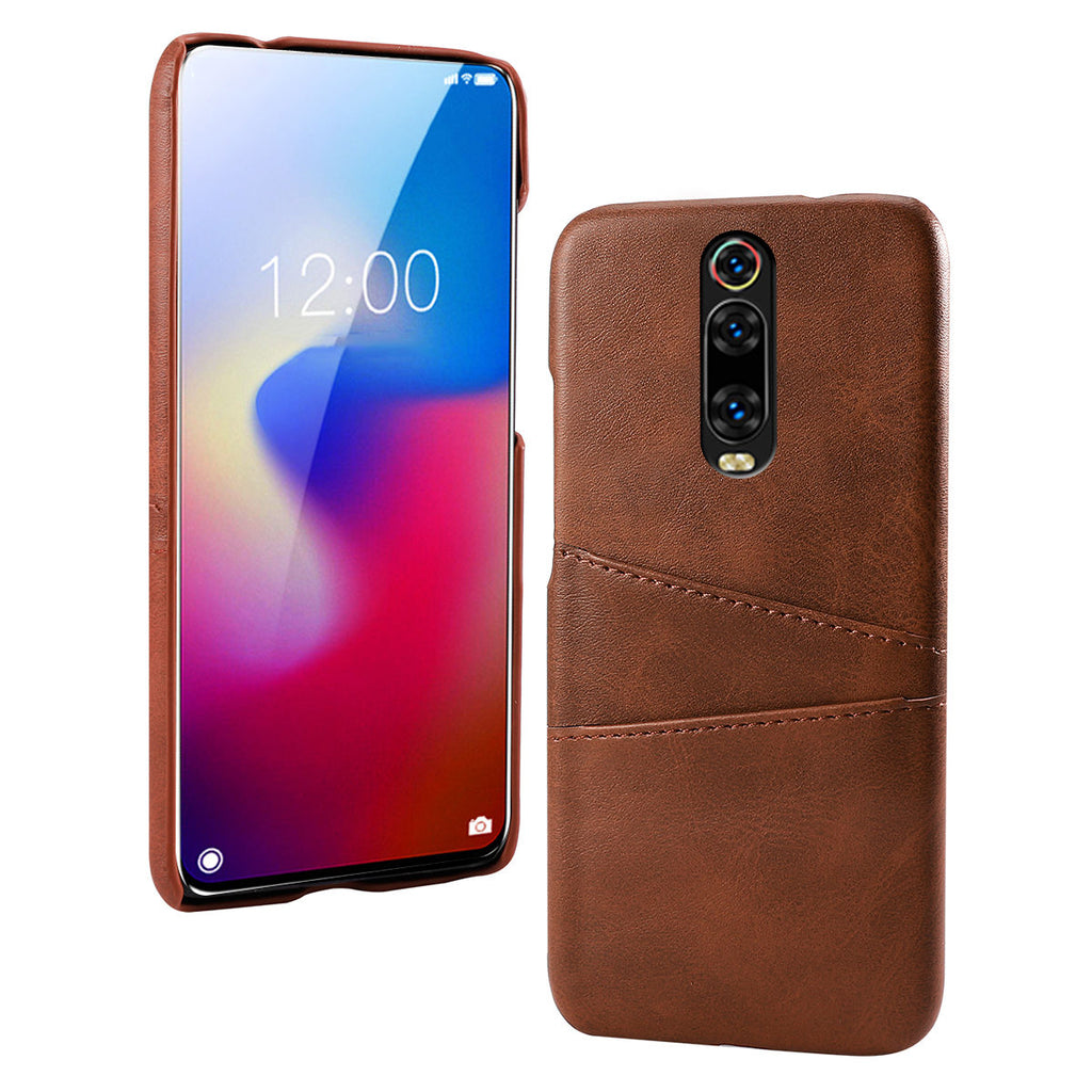 Redmi K20 Pro case shockproof PC phone cover with 2 card slots Brown