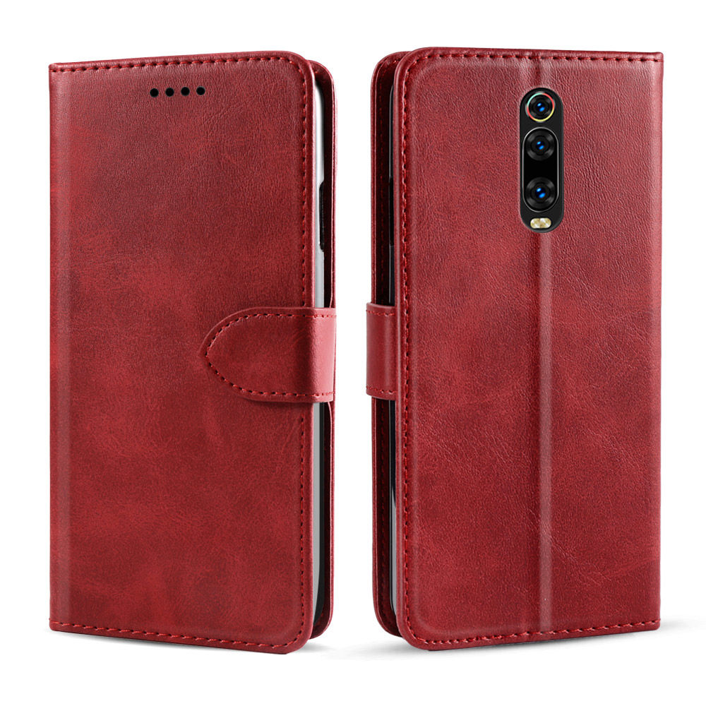 Redmi K20 Pro Case Leather Flip Wallet Case with Card Slots & Kickstand Red