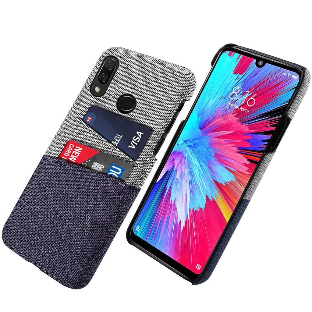 Fabric Case for Redmi Note 7S with 2 Card Holder Impact Resistant Case Blue