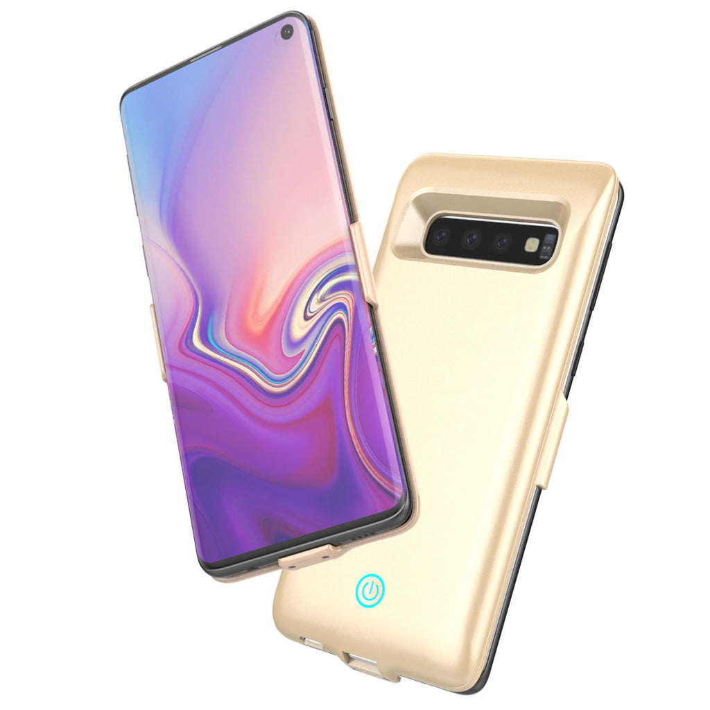 Rechargeable Battery Case for Galaxy S10 Short Circuit Protection Phone Power Bank Golden