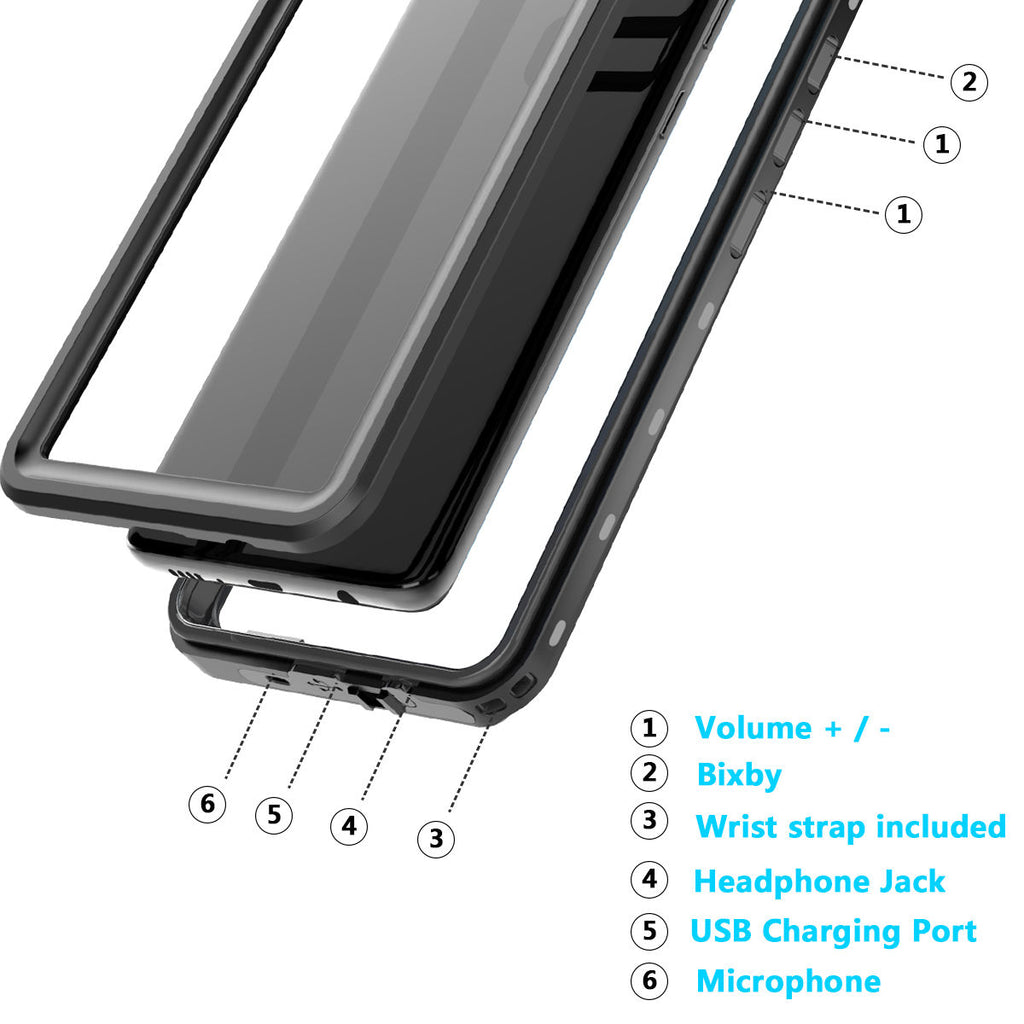Samsung Galaxy S10 Waterproof Underwater Case Bumper Shock Absorption Anti Scratch with Floating Strap