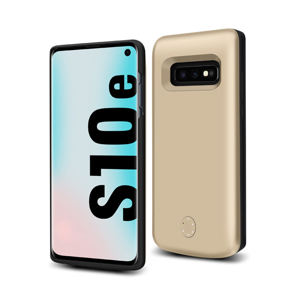 Galaxy S10e Battery Case Rechargeable 5000mAh Charger Soft TPU Thin Extended Case Gold
