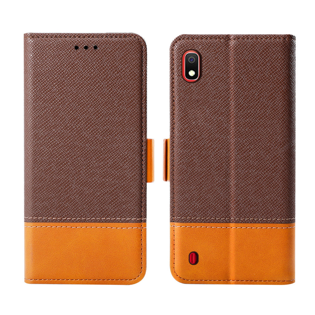 Samsung Galaxy A10 Protective Wallet Case Contrast Color Flip Stand Kickstand Brown