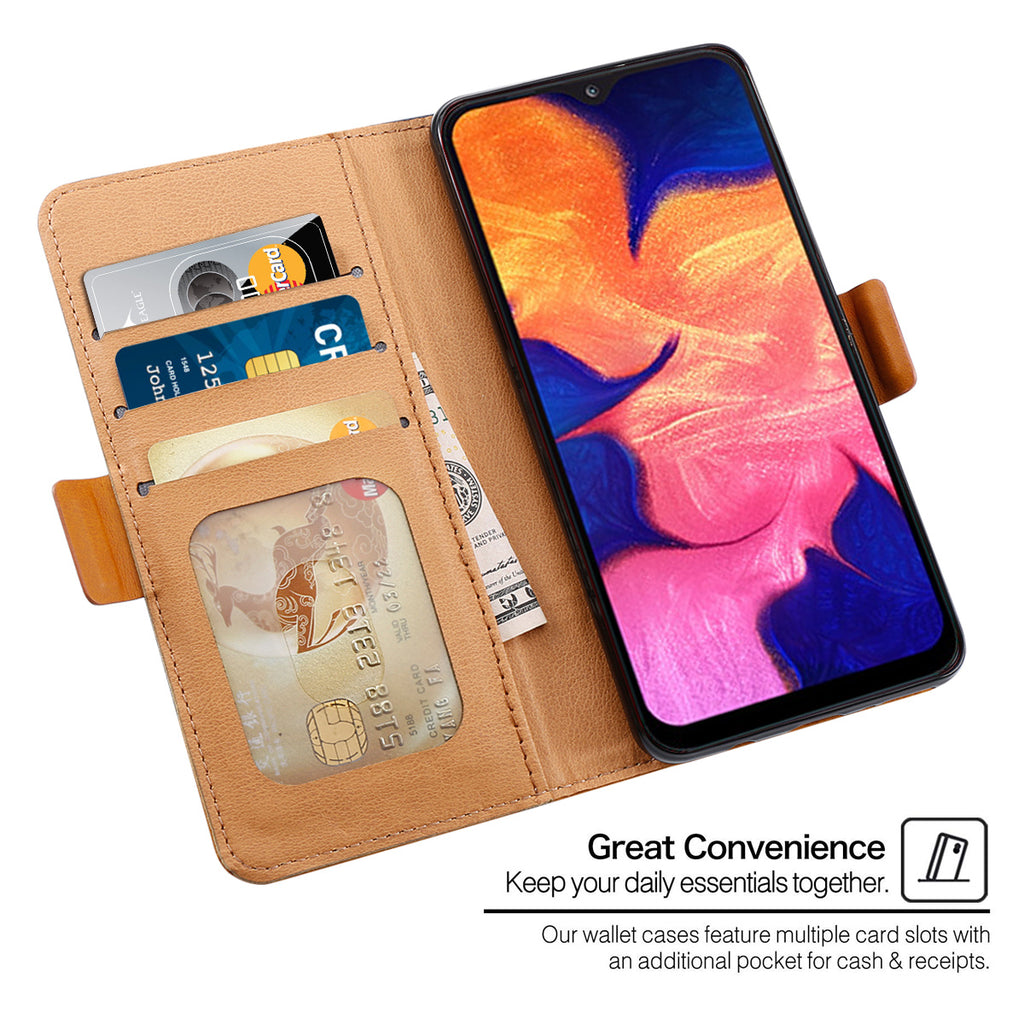 Samsung a10 Cardholder Cases Protective Wallet Case Contrast Color Flip Stand with Kickstand Brown