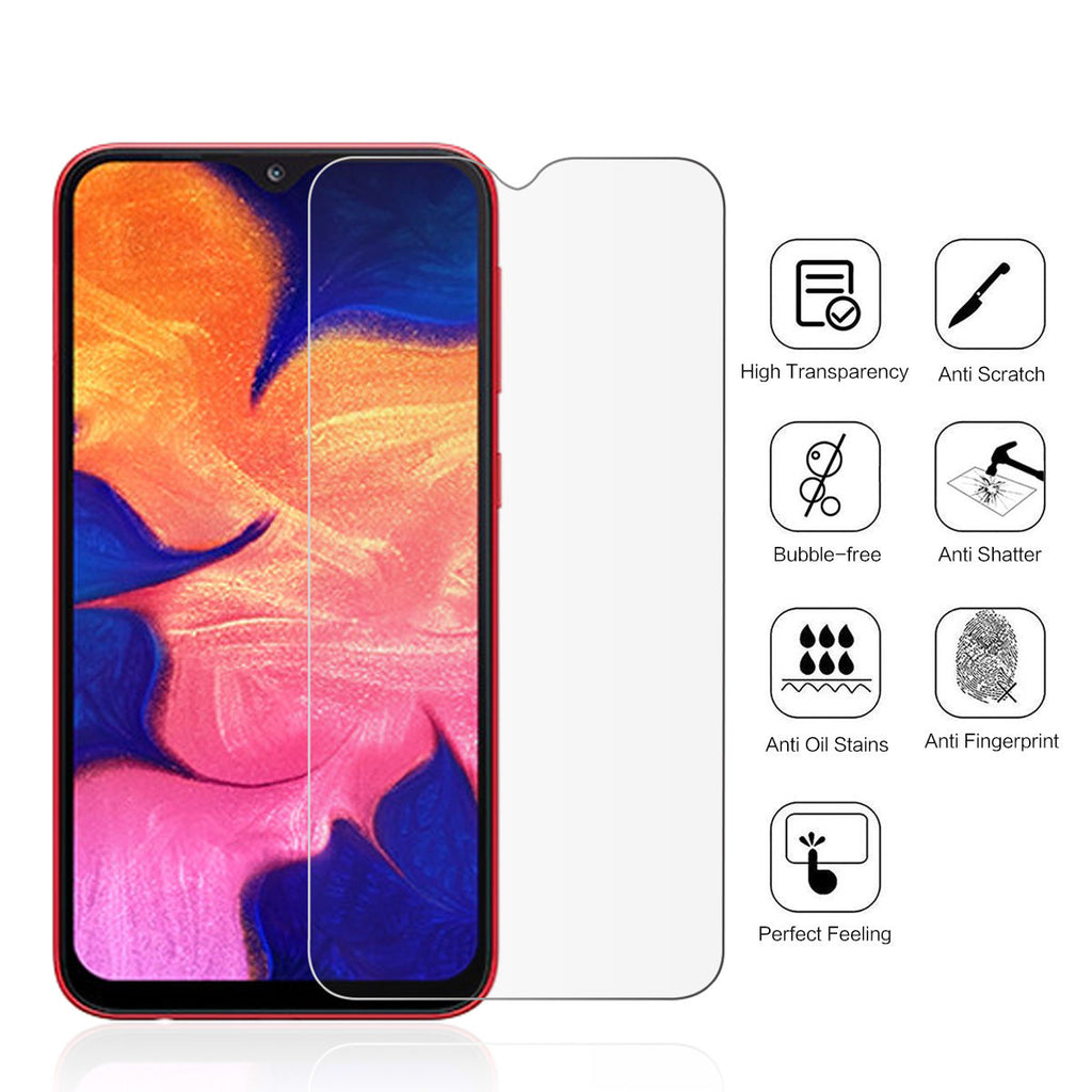 Galaxy A10 Screen Protector Anti-Fingerprint Tempered Glass Case Friendly Film 1 Pack