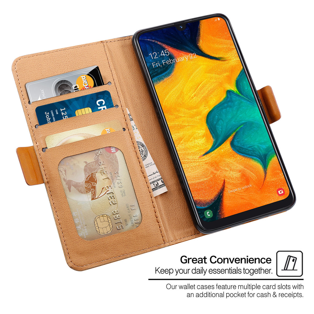 Galaxy A20 Cardholder Case with Card Slots Contrast Color Flip Stand Wallet Case Blue