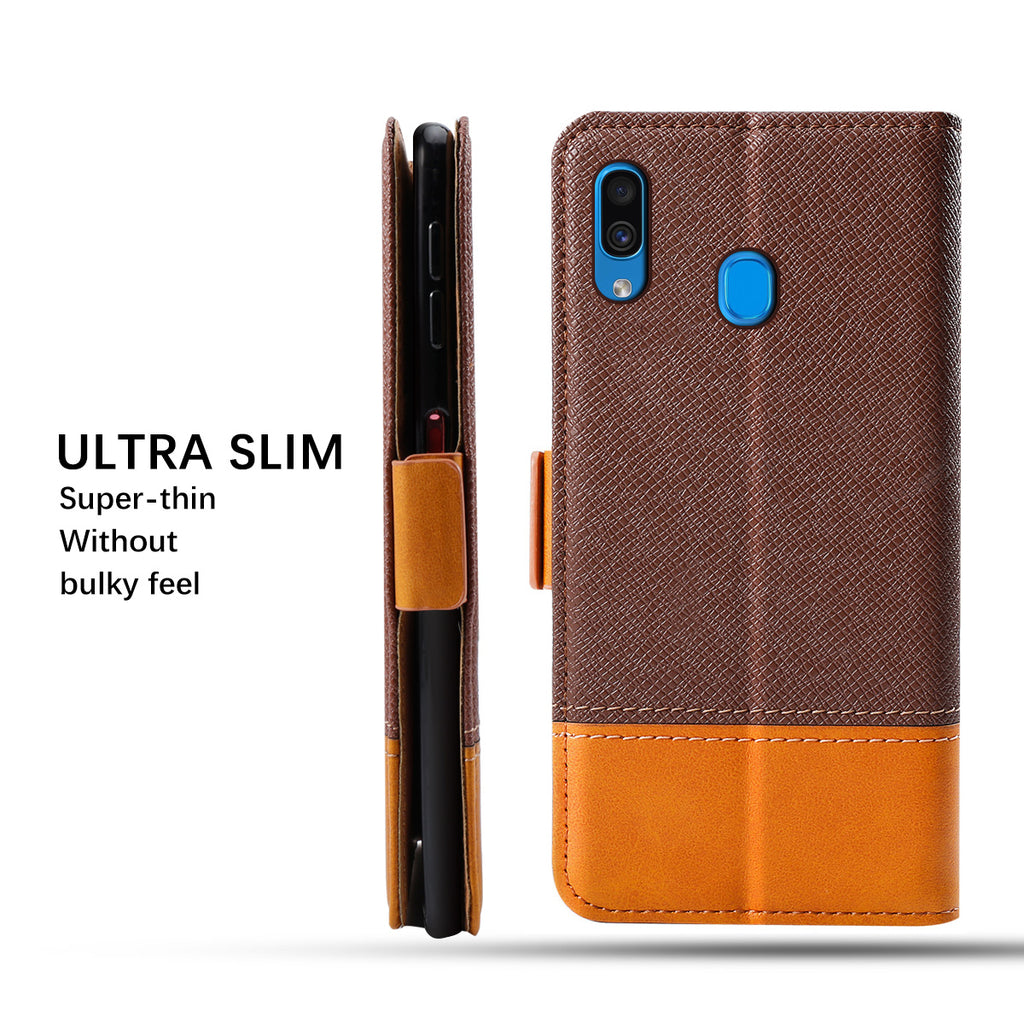 Galaxy A20 Wallet Case for Men Slim Protective Leather Cover with Card Slots Brown