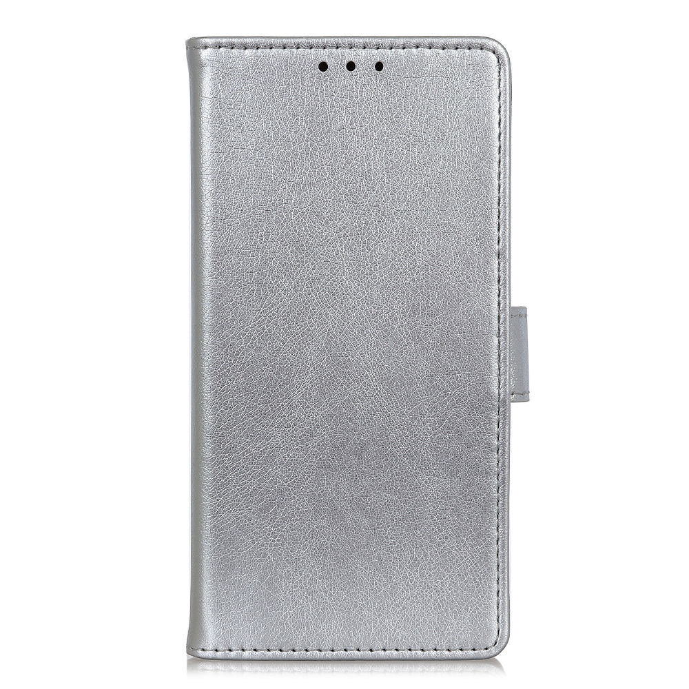 Samsung Galaxy A40 Case PU Leather Wallet Flip Protective Case with Card Slots Silver