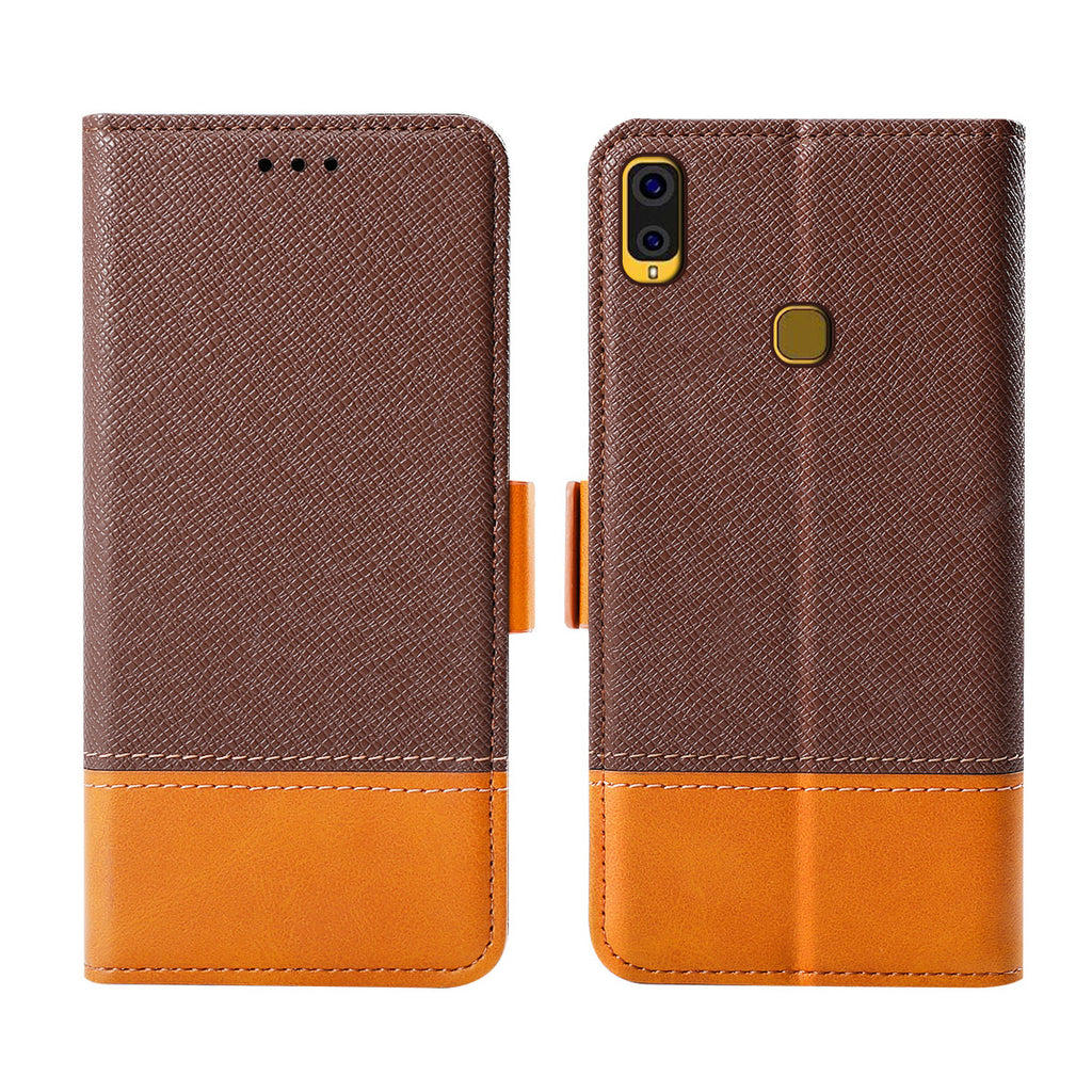 Samsung Galaxy A40 Leather Case Card Wallet Magnetic Buckle Closure Brown