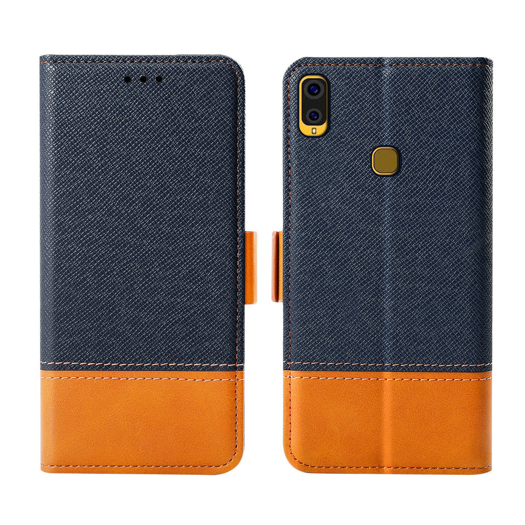 Samsung Galaxy A40 Leather Case Kickstand Slim Fit Magnetic Buckle Closure Blue