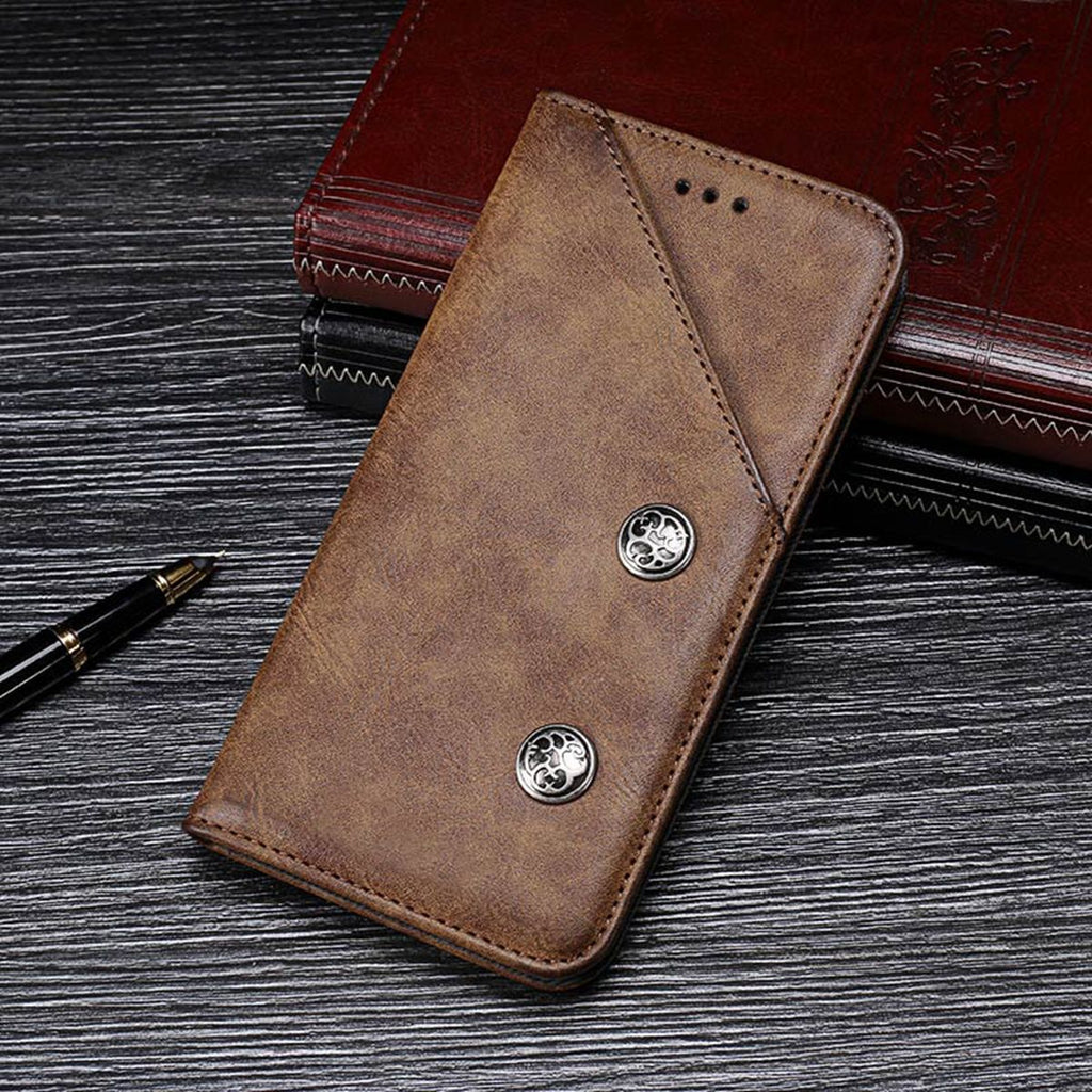 Samsung Galaxy A40 Leather Case Vintage Wallet Flip Case with Card Slots Brown