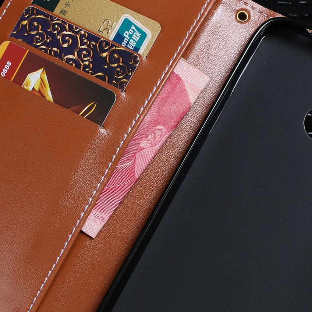 Samsung Galaxy A60 Leather Case with Credit Card Slots PU Flip Cover Black