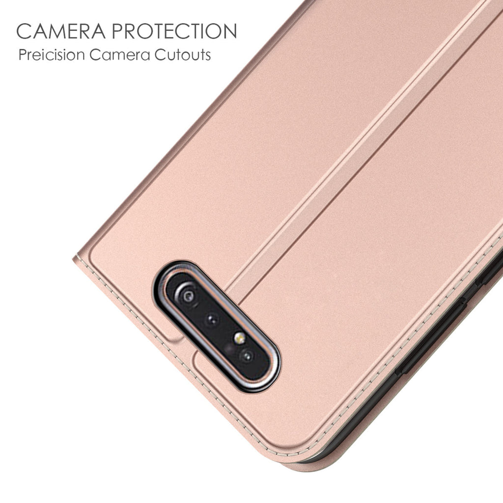 Samsung Galaxy A80 Wallet Case Folio Flip Stand Cover Card Slots Rose Gold