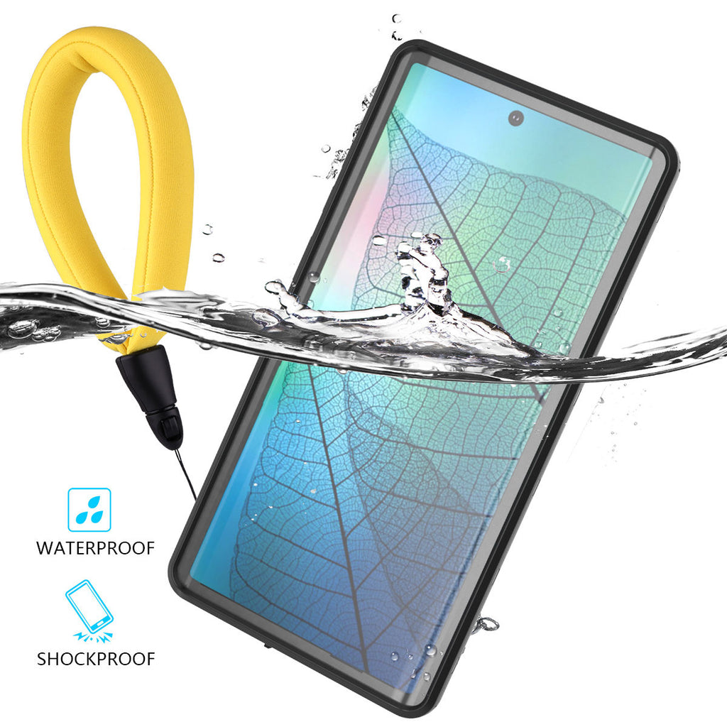 Galaxy Note 10 Waterproof Case Shockproof IP68 Certified with Floating Strap Black