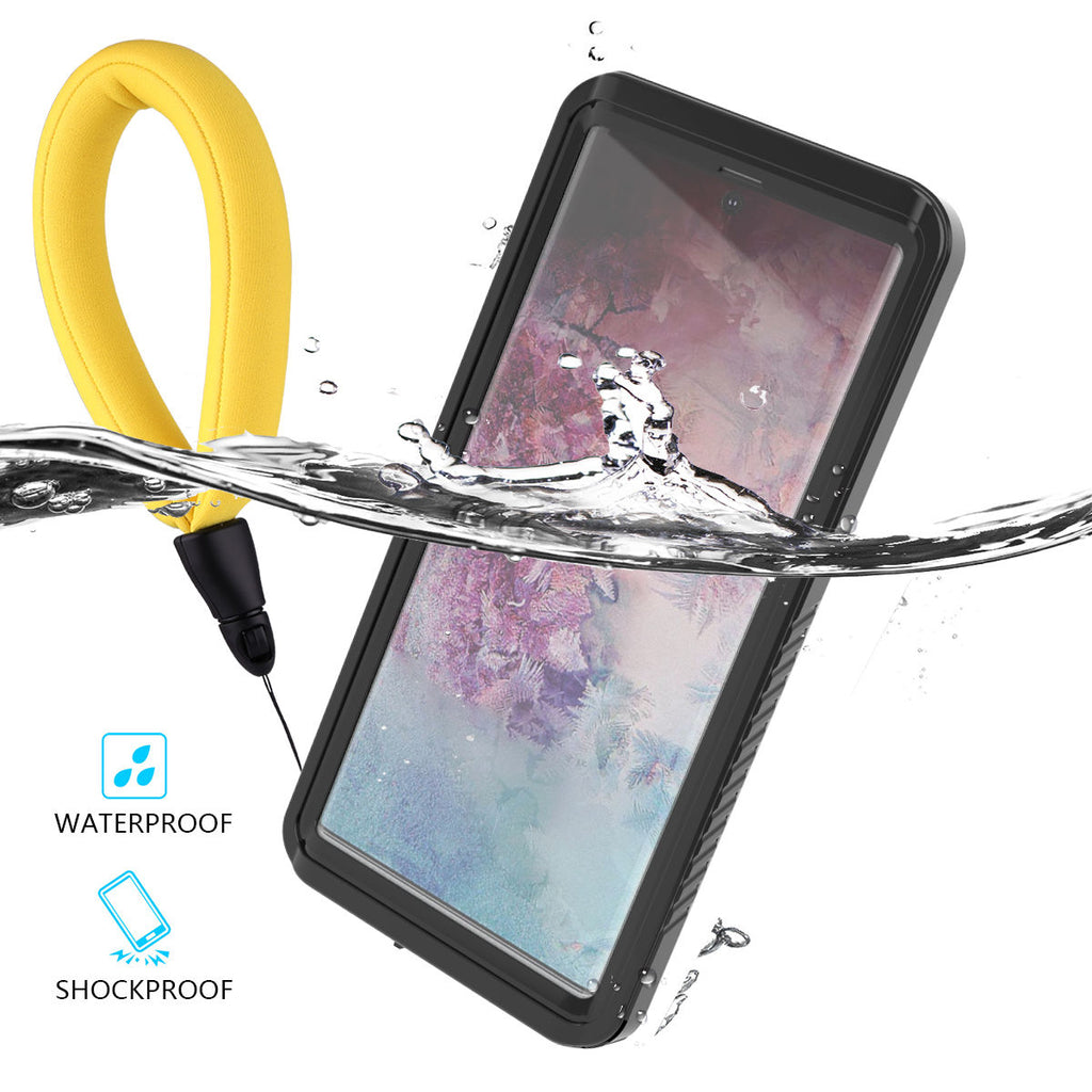 Galaxy Note 10 plus Waterproof Case Dropproof Shockproof Cover with Floating Strap Black