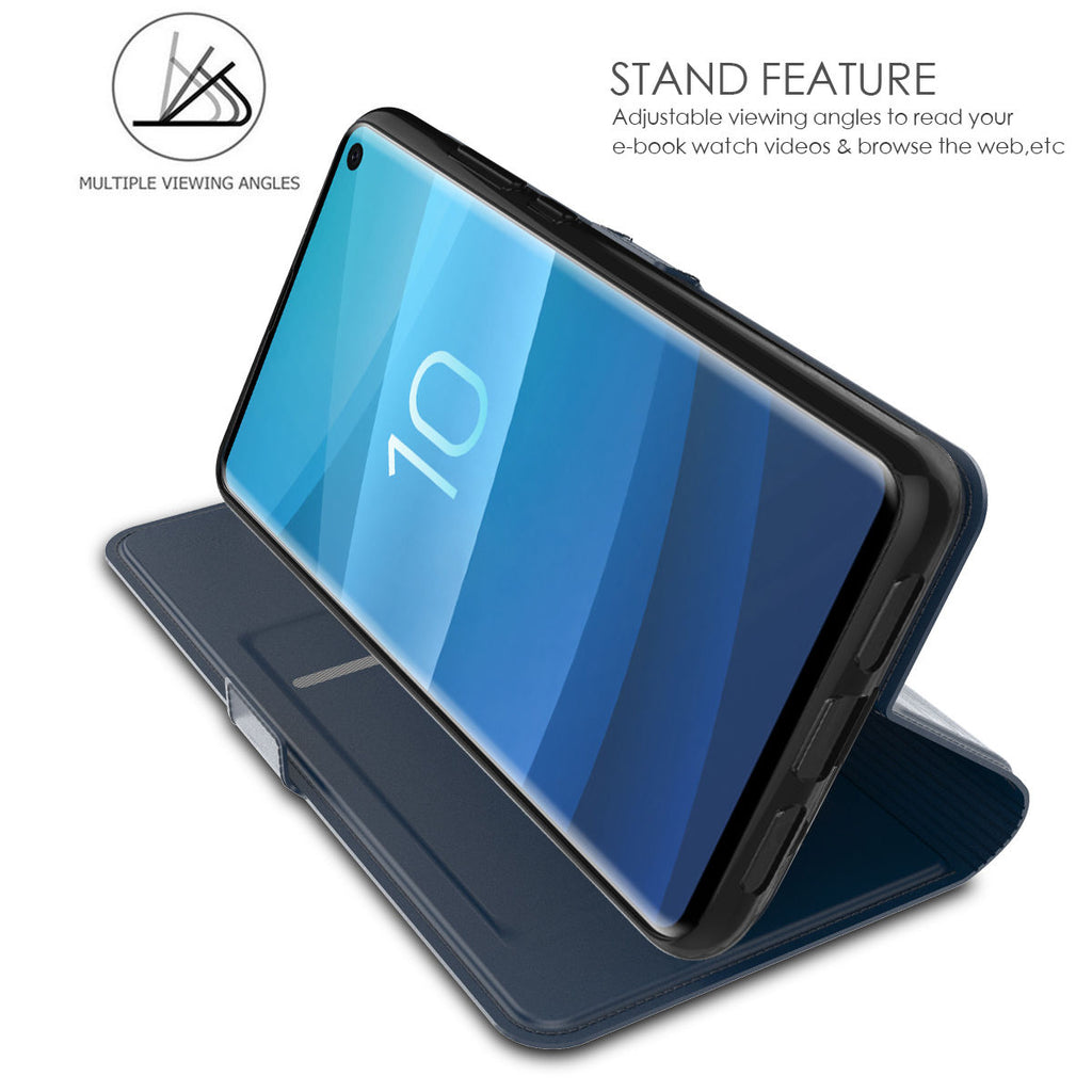 Samsung Galaxy S10 Wallet Case Thin Flip Folio Stand Leather Cover with Card Holders Protective Blue