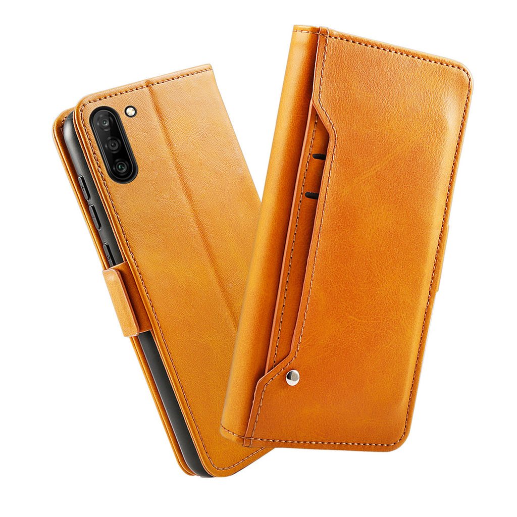 Samsung Galaxy S10 Leather Cases Flip Stand Cover with Card Holder Orange