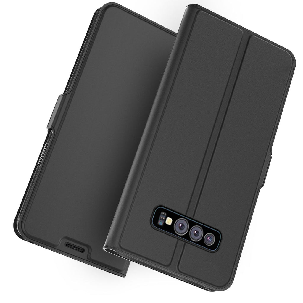 Samsung Galaxy S10e Leather Case Slim Flip Stand Wallet Cover with Credit Card Slots Black