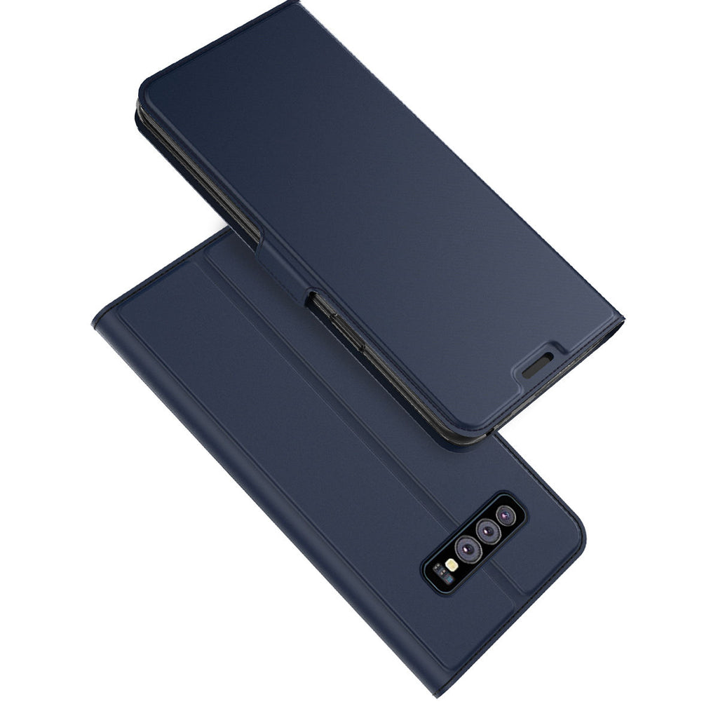 Samsung Galaxy S10e Leather Case Slim Flip Stand Wallet Cover with Credit Card Slots Blue