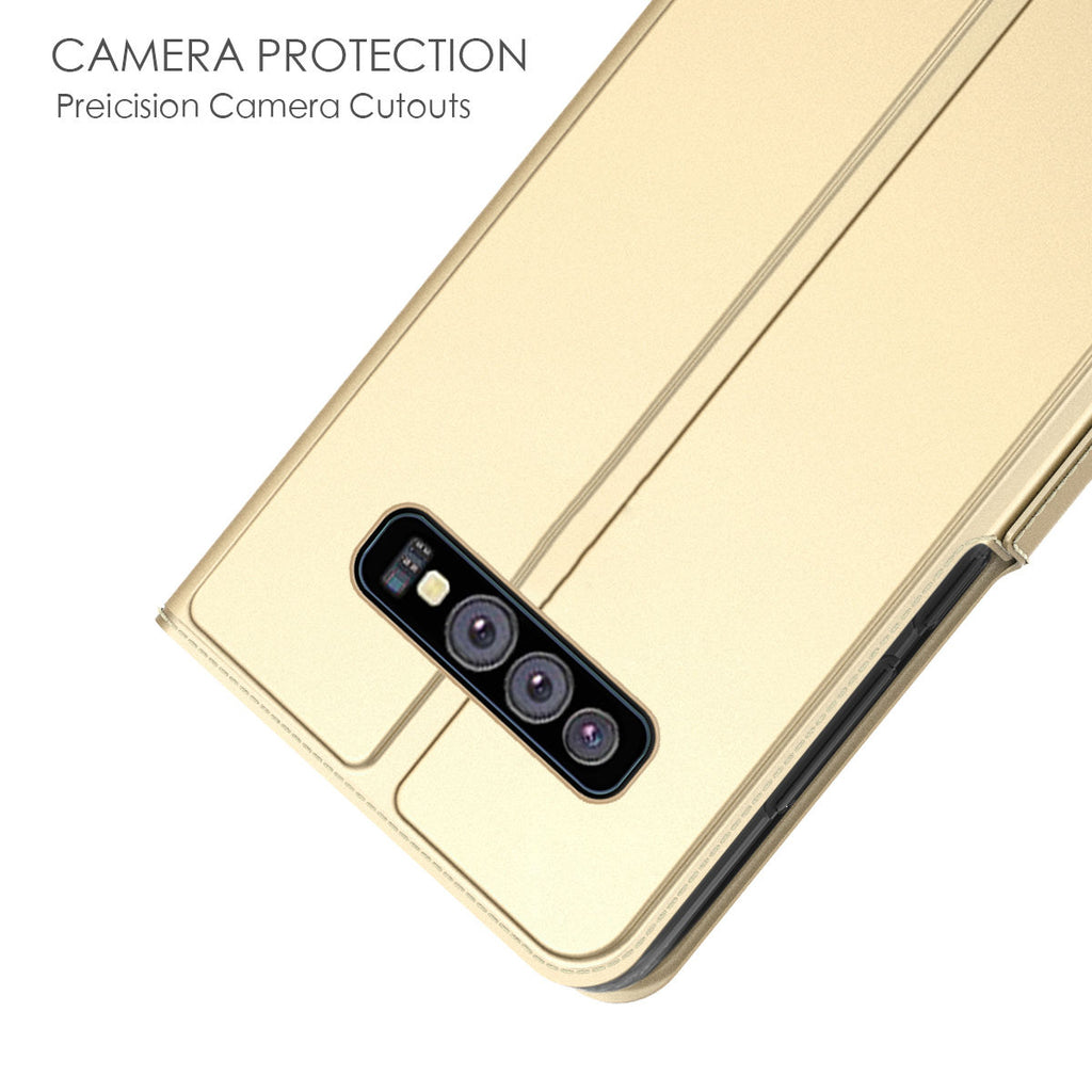 Samsung Galaxy S10e Wallet Case Slim Flip Stand Leather Cover with Credit Card Slots Golden