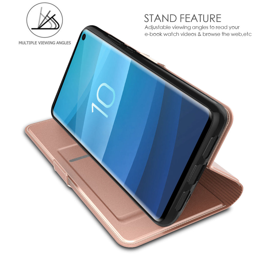 Samsung Galaxy S10e Wallet Case Slim Flip Stand Leather Cover with Credit Card Slots Rose Gold