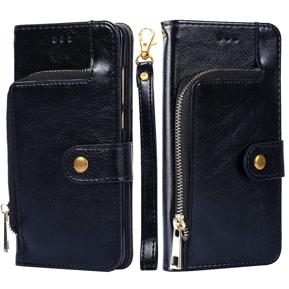 Samsung Galaxy S10e Leather Case Zipper Wallet Design Flip Stand Cover with Card Slots Black