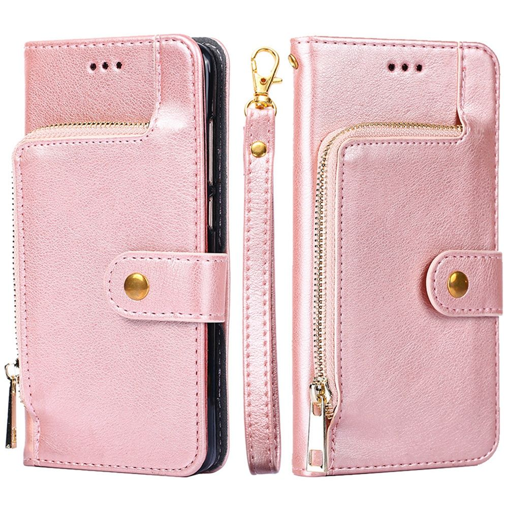 Samsung Galaxy S10e Wallet Cover PU Leather Zipper Design Case Flip Stand with Card Slots Rose Gold