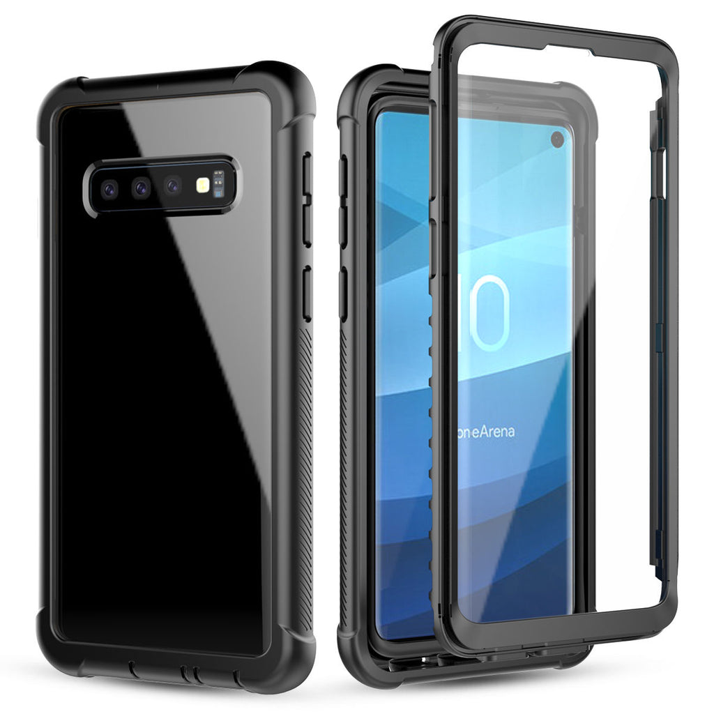 Samsung Galaxy S10 Phone Case with Built-in-Screen Protector Rugged Clear Hybrid Cover