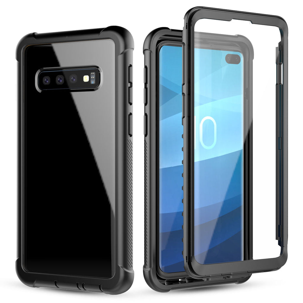 Samsung Galaxy S10 Plus Phone Case Scratch Resistant Clear Hybrid Bumper Case with Built-in-Screen Protector
