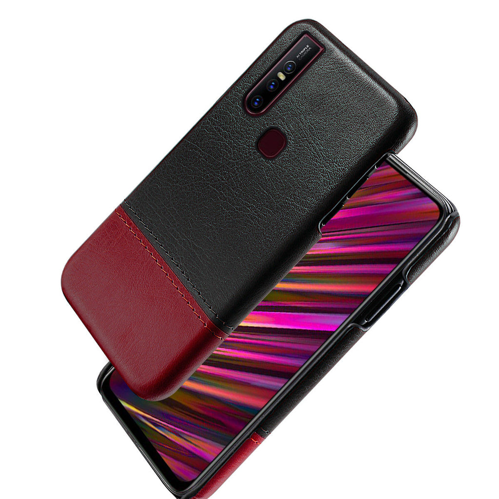 Vivo X27 Protective Case Drop Resistant Splicing Leather Slim Case Black-red