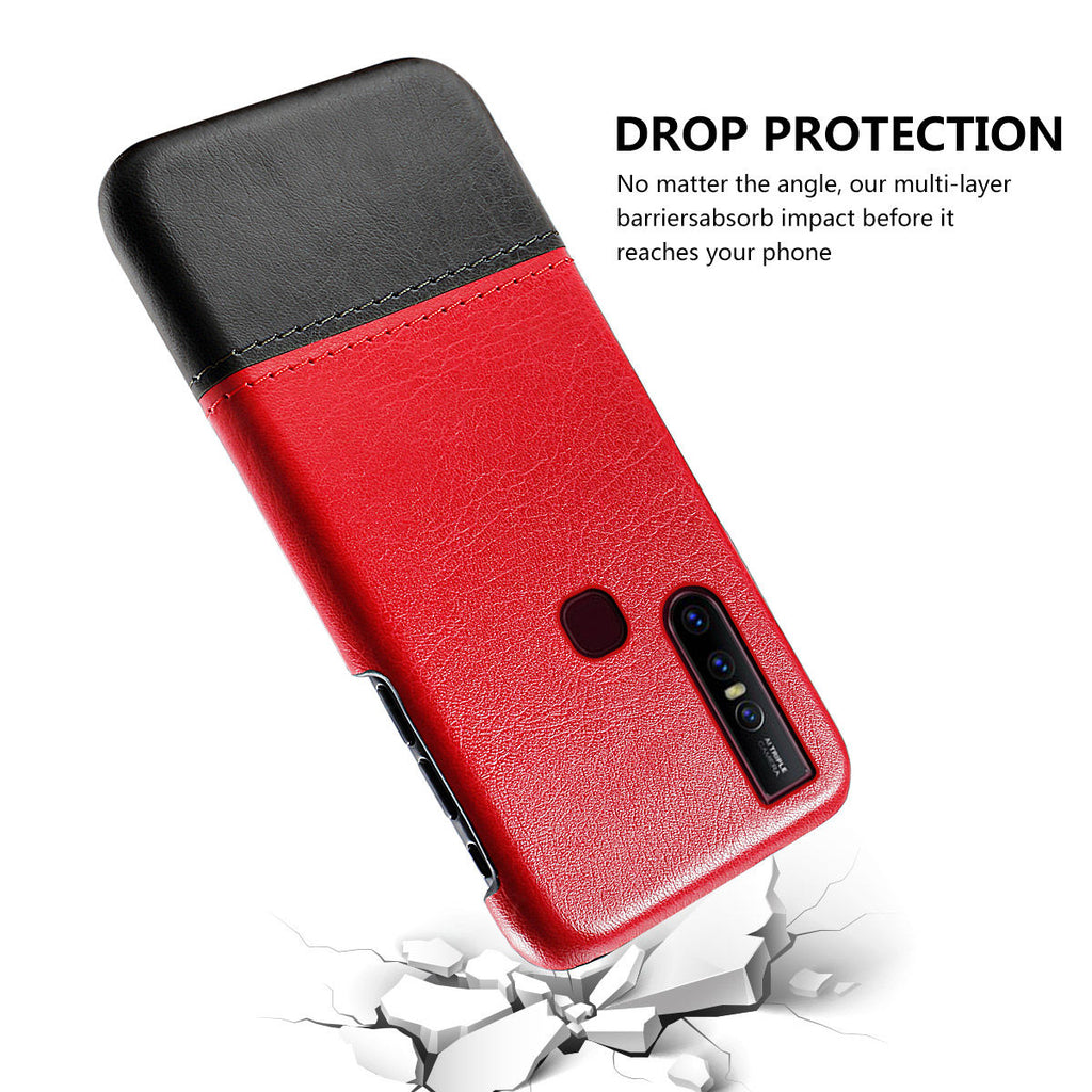 Vivo X27 Slim Shock Resistant Case Splicing Leather Anti-Scratch Hard Cover Red-black